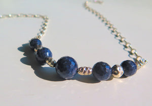 Blue Sapphire and Silver Necklace, Healing Jewelry, Gift for Mom - Viyoli Jewelry Designs