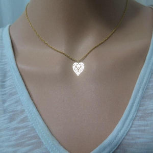 Dainty Minimalist Necklace, Gold Lace Heart Pendant, Jewelry Gift - Viyoli Jewelry Designs
