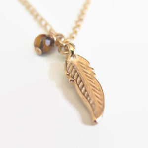 Gift for Boyfriend, Feather Pendant Necklace, Gold Charm Jewelry - Viyoli Jewelry Designs
