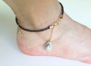 Brown Leather Anklet, Foot Bracelet, Anklet Bracelet, Tail Jewelry - Viyoli Jewelry Designs