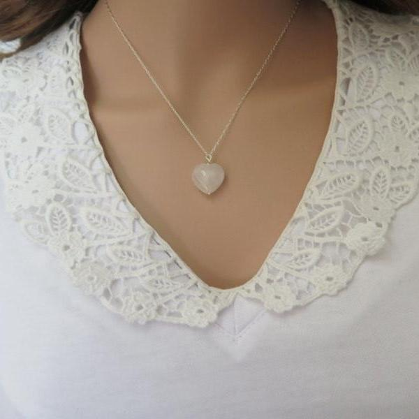 Gemstone Heart Necklace, Gemstone Pendant Necklace - Viyoli Jewelry Designs