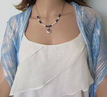 Seashell Necklace, Silver and Pearls, Blue and White Jewelry, Sea Love - Viyoli Jewelry Designs
