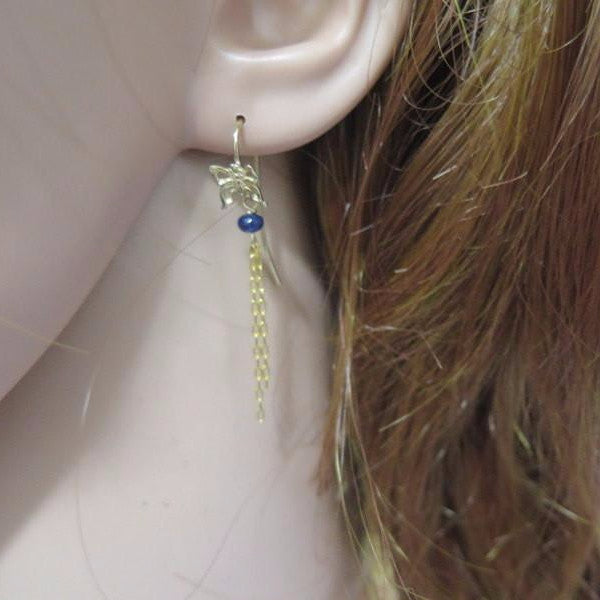 Gold Butterfly Earrings, Sapphire Gold Jewelry, Small Blue Gift - Viyoli Jewelry Designs