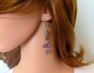 Amethyst and Silver, Unique Modern Earrings, Statement Long Jewelry - Viyoli Jewelry Designs