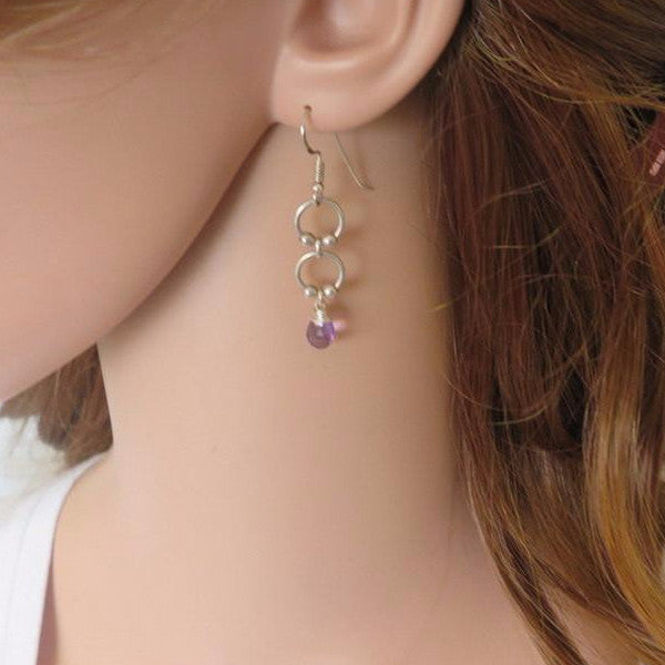 Everyday Dangle Earrings, Amethyst Drop in Silver for You - Viyoli Jewelry Designs