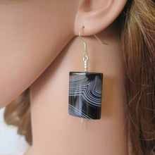 Black Agate Earring, Healing Earring, Black Dangle Earring, Silver Black - Viyoli Jewelry Designs
