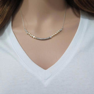 Freshwater Pearl Necklace, Curved Bar in Silver, Your Wedding Jewelry - Viyoli Jewelry Designs