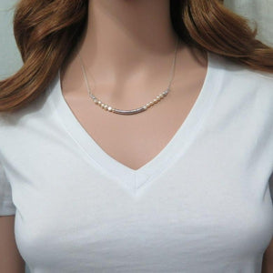 Freshwater Pearl Necklace, Your Wedding Jewelry, Tube jewelry, Tube Gold - Viyoli Jewelry Designs