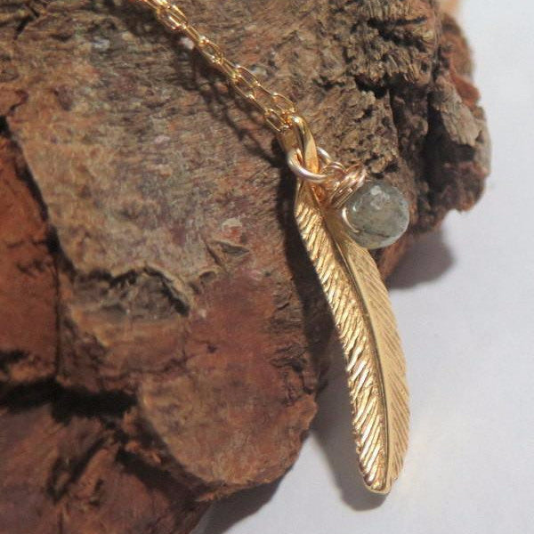 Gold Feather Necklace, A Charm Gift for Her or Him, Leaf and Gemstone - Viyoli Jewelry Designs