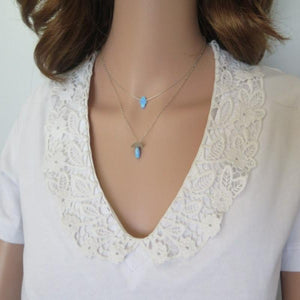 Dainty Opal Hamsa Pendant, Blue Charm Necklace, Protection Jewelry - Viyoli Jewelry Designs