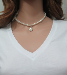 Beaded Fresh water Pearl with Silver Necklace, An Elegant Gift for Mom - Viyoli Jewelry Designs
