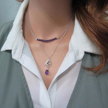 Amethyst Drop and Pearl Bar Set Necklace, Gemstone Layering Jewelry - Viyoli Jewelry Designs