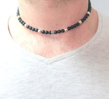 Man Black Beaded Necklace, Gemstone Necklace, Black Silver Necklace - Viyoli Jewelry Designs