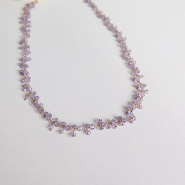Delicate Amethyst Gold Necklace, Birthday Dainty Gift, Dangle Purple - Viyoli Jewelry Designs