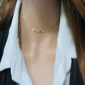 Short Layering Necklace, Simple Choker Necklace, Minimalist Gold Necklace - Viyoli Jewelry Designs