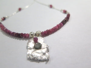 Tourmaline Silver Necklace, Dainty Gemstone Necklace, Unique Necklace - Viyoli Jewelry Designs