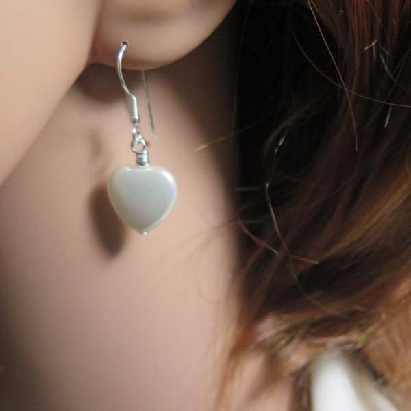 Everyday Earring in Gold or Silver, Heart Dangle, Mother Pearl Jewelry - Viyoli Jewelry Designs