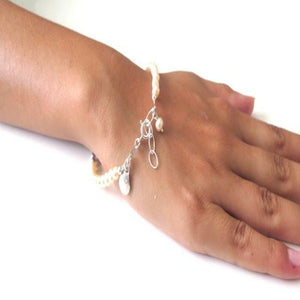 Real Pearl Bracelet, Pearl Jewelry Wedding, Elegant Silver and Pearl - Viyoli Jewelry Designs
