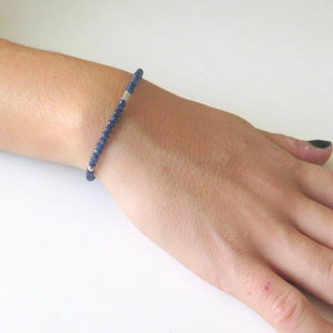 Full Gemstone Bracelet, Blue Dainty Sapphire Jewelry, Magic Sparkle - Viyoli Jewelry Designs