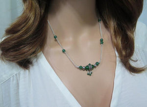 Jade Dainty Statement Necklace, Silver Green Gemstone, Healing Gift - Viyoli Jewelry Designs