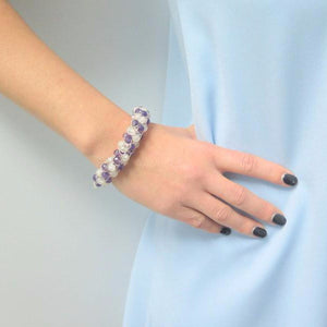 Silver Crochet, Silver Knit Bracelet, Purple White Bracelet - Viyoli Jewelry Designs