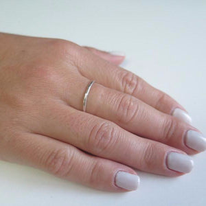 Thin Hammered Ring, Minimal in Silver Band, Stackable Jewelry - Viyoli Jewelry Designs