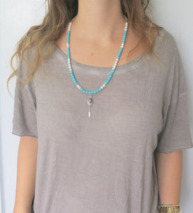 Gemstone Long Necklace, Howlite Turquoise Jewelry, Bohemian Chic Style - Viyoli Jewelry Designs