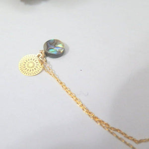 Dainty Mandala Pendant, Abalone Jewelry, Layered Gold Necklace Gift - Viyoli Jewelry Designs