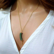 Natural Jade Pendant, Green and Gold Necklace, Gift Idea for Woman - Viyoli Jewelry Designs
