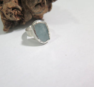Aquamarine Unique Ring, Modern Silver Gemstone Jewelry, Birthday Gift - Viyoli Jewelry Designs