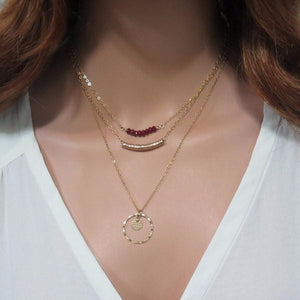 Delicate Layered Necklaces With Ruby , Minimalist Jewelry Set Gift - Viyoli Jewelry Designs