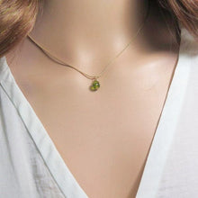 Tiny Peridot Necklace, Dainty Birthstone Pendant, Minimalist Gold - Viyoli Jewelry Designs