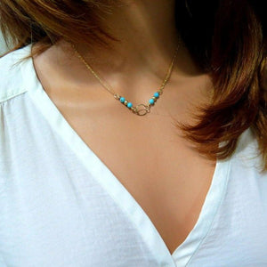 Gold Choker, Turquoise Necklace, Dainty Circle Necklace, Layering Necklace - Viyoli Jewelry Designs