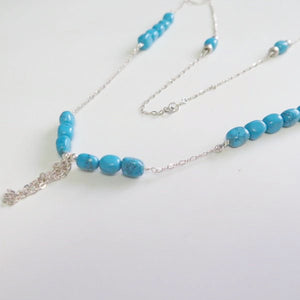 Silver Turquoise Necklace, Long with beads Tassel, Summer Fun Jewelry - Viyoli Jewelry Designs