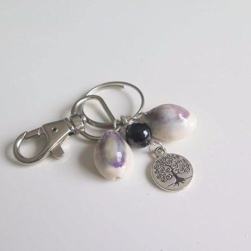 Seashell Keychain with Tree Life Charm, Everyday Gift - Viyoli Jewelry Designs