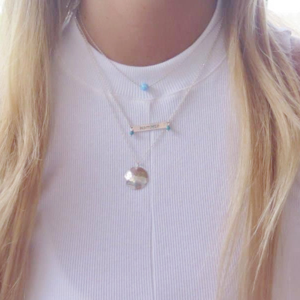 Layering Set With Silver Bar Pendant, Delicate Opal and Disc Necklace - Viyoli Jewelry Designs