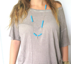 Silver Turquoise Necklace, Layering Necklace, Howlite Long Necklaces - Viyoli Jewelry Designs