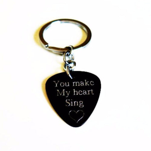 Guitar Pick, Custom Keychain, Guitarist, The perfect Personalize Gift - Viyoli Jewelry Designs