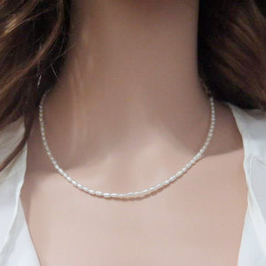 Freshwater Necklace, Dainty Beaded, Wedding Necklace Bridal Jewelry - Viyoli Jewelry Designs