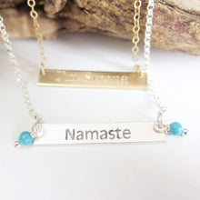 Custom Name Bar Necklace, Personalized Gift, Dainty Sterling Silver - Viyoli Jewelry Designs