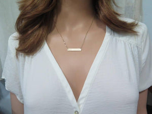 Minimalist Necklace, Engraved Necklace, Layered Necklace, Friend Gift - Viyoli Jewelry Designs