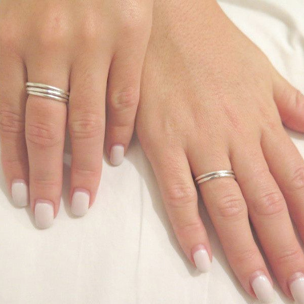 5 Silver Stacking Rings, Minimalist Set, Thin Sterling Silver Bands - Viyoli Jewelry Designs