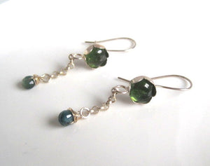 Green Tourmaline Earring, Green Gemstone Earring, Silver Earring - Viyoli Jewelry Designs