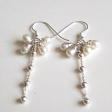 White Pearl Cluster Earring in Sterling Silver, Long Bridesmaid Gift - Viyoli Jewelry Designs