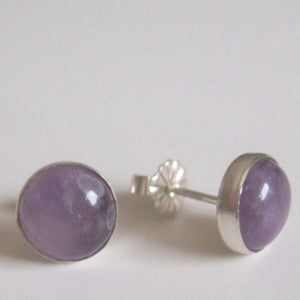 Amethyst Stud Earrings, Birthstone Silver Gift, Purple Round Jewelry - Viyoli Jewelry Designs