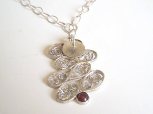 Ruby Sterling Necklace, Sterling Filigree Pendant, Gift for Mom - Viyoli Jewelry Designs