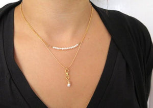 Minimalist Necklace, Infinity Pendant Necklace, Pearl Necklace - Viyoli Jewelry Designs
