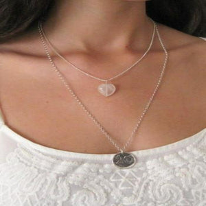 Rose Quartz Heart Necklace, Love Gem Gift, For Mom in Jewelry - Viyoli Jewelry Designs