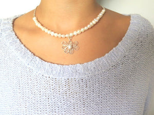 Modern Pearl Necklace, Your Wedding Jewelry, Silver Flower Necklace - Viyoli Jewelry Designs