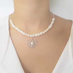 Classic Pearl Necklace, Your Wedding Jewelry, Silver Flower Pendant - Viyoli Jewelry Designs